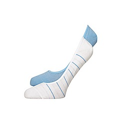 Evans - 2 pack blue striped footsies