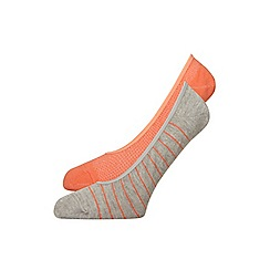 Evans - 2 pack coral orange striped footsies
