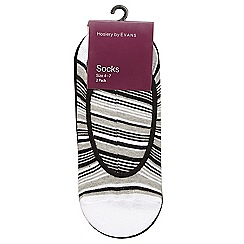 Evans - 2 pack black and white striped footsies