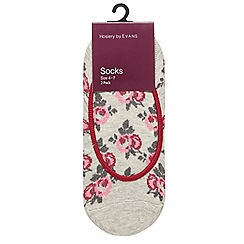 Evans - 2 pack ivory floral design footsies