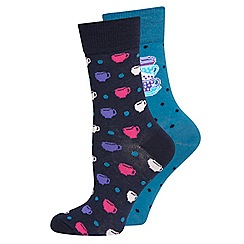 Evans - Teacup and spots 2 pack socks