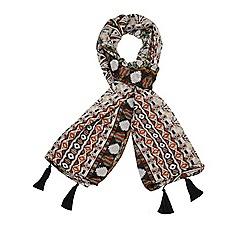 Evans - Neutral aztec print scarf