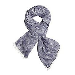 Evans - Blue butterfly print pompom scarf