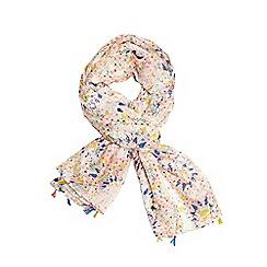 Evans - Multicoloured floral print pompom scarf