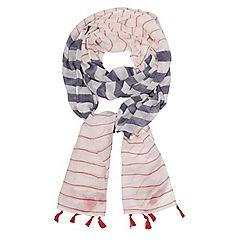 Evans - Cream stripe tassel scarf