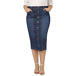 Evans - Button through denim midi skirt