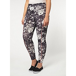Evans - Black floral print activewear leggings