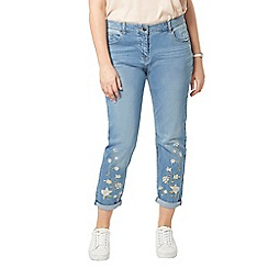 Evans - Blue denim embroidered boyfriend jeans