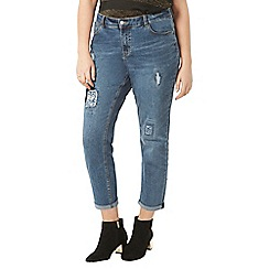 Evans - Blue denim pear floral patch boyfriend jeans