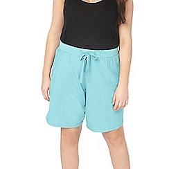 Evans - Aqua linen blend shorts