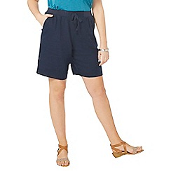 Evans - Navy blue linen blend shorts