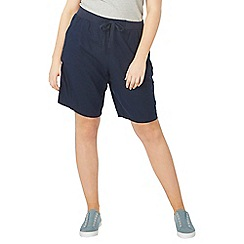 Evans - Black and navy blue linen shorts 2 pack