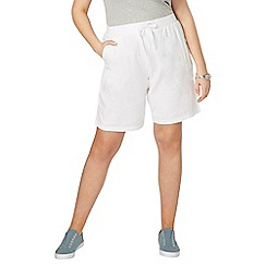 Evans - Navy blue and white linen shorts 2 pack