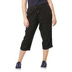 Evans - Black linen blend crop trousers