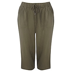 Evans - Olive linen blend cropped trousers