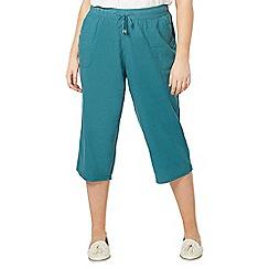 Evans - Teal linen blend crop trousers