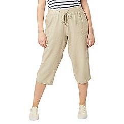 Evans - Nude linen blend crop trousers
