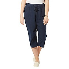 Evans - Navy blue linen blend crop trousers