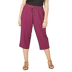 Evans - Purple linen blend crop trousers