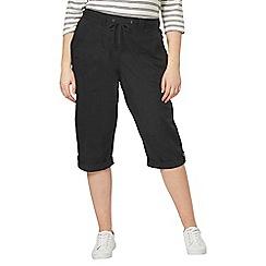 Evans - Black cotton turn up hem shorts