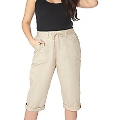 Evans - Nude cotton cropped trousers