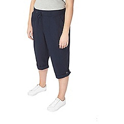 Evans - Navy and white cotton cropped trousers 2 pack