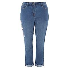 Evans - Mid wash floral embroidered boyfriend jeans