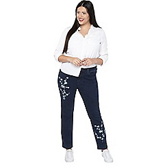 Evans - Orchid embroidered straight leg jeans