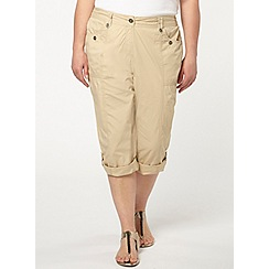 Evans - Neutral poplin cropped trousers