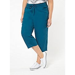 Evans - Teal green linen blend cropped trousers