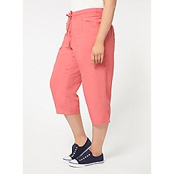 Evans - Pink linen blend cropped trousers