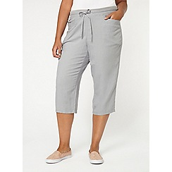 Evans - Grey linen blend cropped trousers