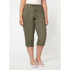 Evans - Olive green linen blend cropped trousers