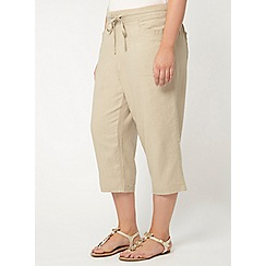 Evans - Neutral linen blend cropped trousers
