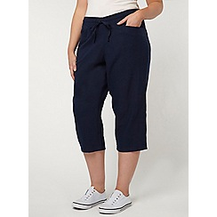 Evans - Navy linen blend cropped trousers