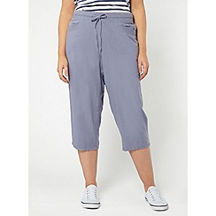Evans - Purple linen blend cropped trousers
