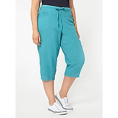 Evans - Turquoise blue linen blend cropped trousers