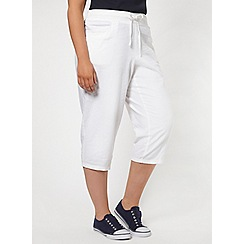 Evans - White linen blend cropped trousers