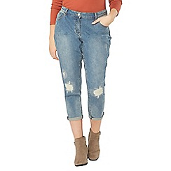 Evans - Blue denim pear sparkle boyfriend jeans