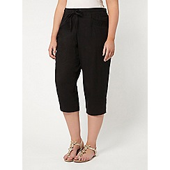 Evans - Black linen blend cropped trousers