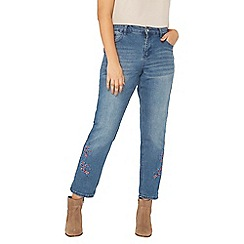 Evans - Embroidered hem boyfriend jean