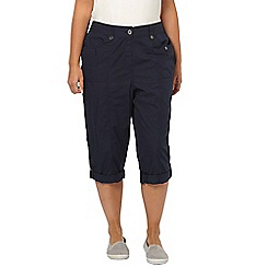 Evans - Navy blue poplin cropped trousers