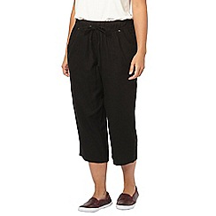 Evans - Black linen cropped trousers