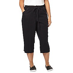 Evans - Navy blue linen blend cropped trousers