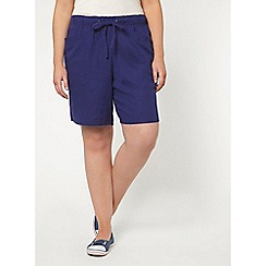 Evans - Purple linen blend shorts