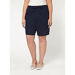Evans - Navy linen blend shorts