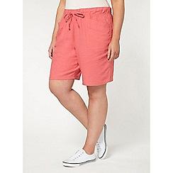 Evans - Pink linen blend shorts