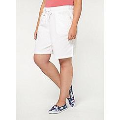 Evans - White linen blend shorts