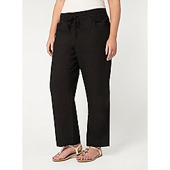 Evans - Black linen blend trousers