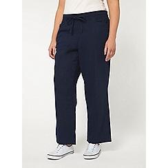 Evans - Navy linen blend trousers